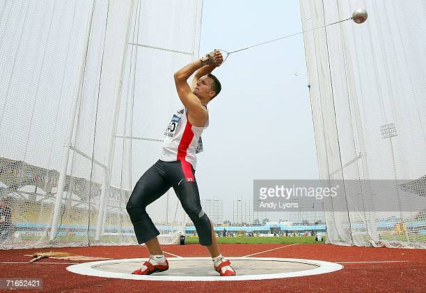 Alexander Ziegler of Germany competes in the qualifying round of the Men's Hammer Throw on the second day of the 11th IAAF World Junior Championships...