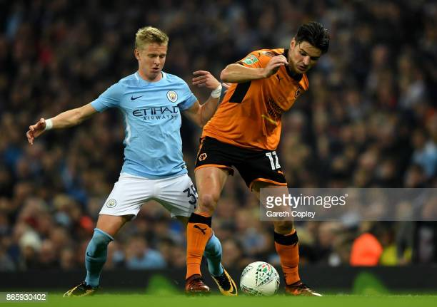 Alexander Zinchenko of Manchester City and Ben Marshall of Wolverhampton Wanderers battle for the ball during the Carabao Cup Fourth Round match...