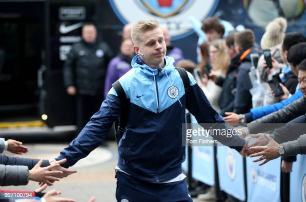 Alexander Zinchenko of Manchester City arrives ahead of the Premier League match between Manchester City and Chelsea at Etihad Stadium on March 4...