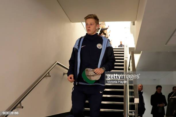 Alexander Zinchenko of Manchester City during the Carabao Cup SemiFinal First Leg match between Manchester City and Bristol City at Etihad Stadium on...