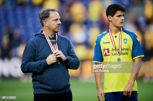 Alexander Zorniger head coach of Brondby IF and Christian Norgaard of Brondby IF looking dejected after the Danish Alka Superliga match between...