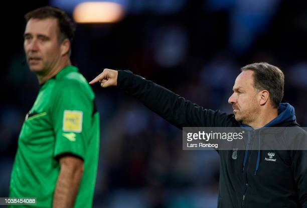 Alexander Zorniger head coach of Brondby IF gestures during the Danish Superliga match between AGF Aarhus and Brondby IF at Ceres Park on September...