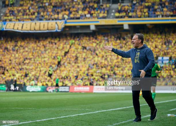 Alexander Zorniger head coach of Brondby IF in action during the Danish Alka Superliga match between Brondby IF and AaB Aalborg at Brondby Stadion on...