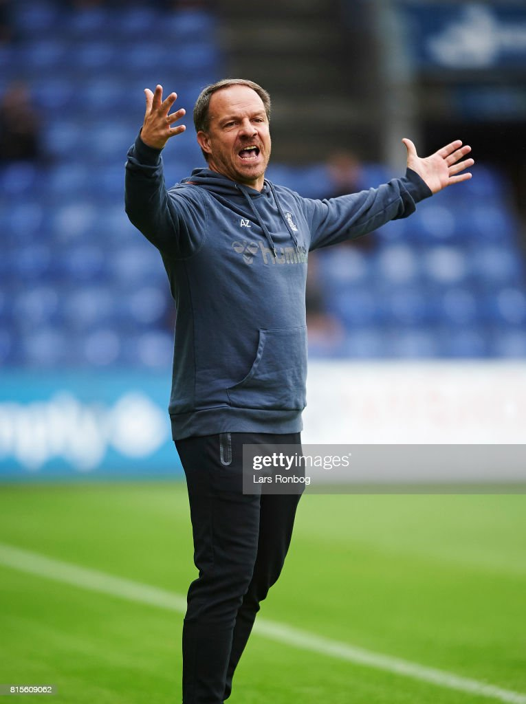 Alexander Zorniger, head coach of Brondby IF shows frustration during the Danish Alka Superliga match between Brondby IF and FC Midtjylland at Brondby Stadion on July 16, 2017 in Brondby, Denmark.