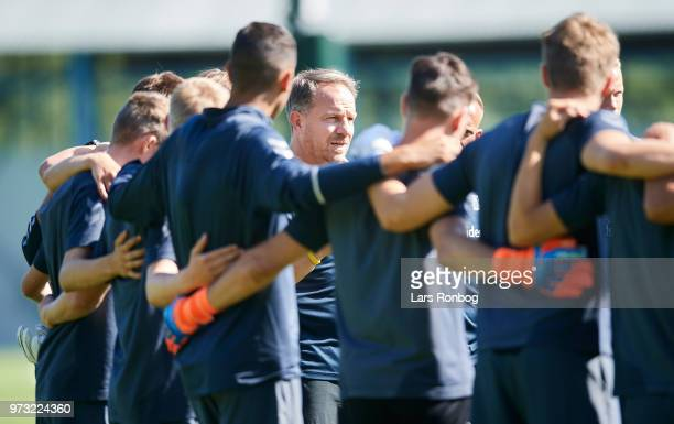 Alexander Zorniger head coach of Brondby IF speaks to the players during the Brondby IF training session at Brondby Stadion on June 13 2018 in...