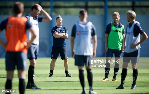 Alexander Zorniger head coach of Brondby IF watching the players during the Brondby IF training session at Brondby Stadion on June 13 2018 in Brondby...