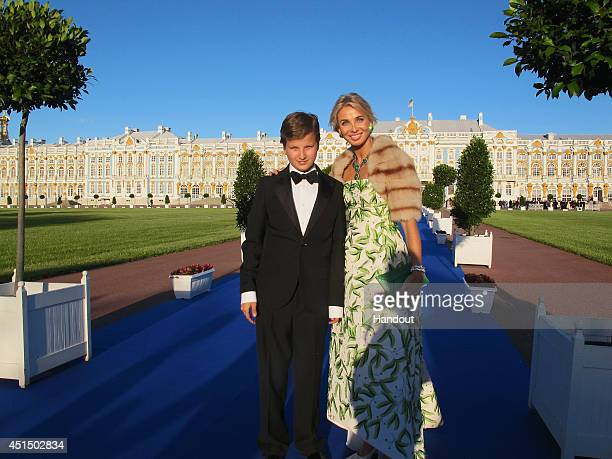 Alexander zu SaynWittgenstein and his mother Corinna zu SaynWittgenstein attend the White Nights Festival on June 21 2014 in St Petersburg Russia The...