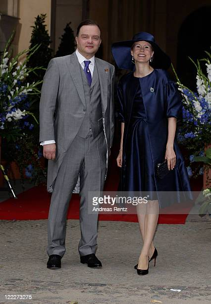 Alexander zu SchaumburgLippe and his wife Nadja attend the religious wedding ceremony of Georg Friedrich Ferdinand Prince of Prussia to Princess...