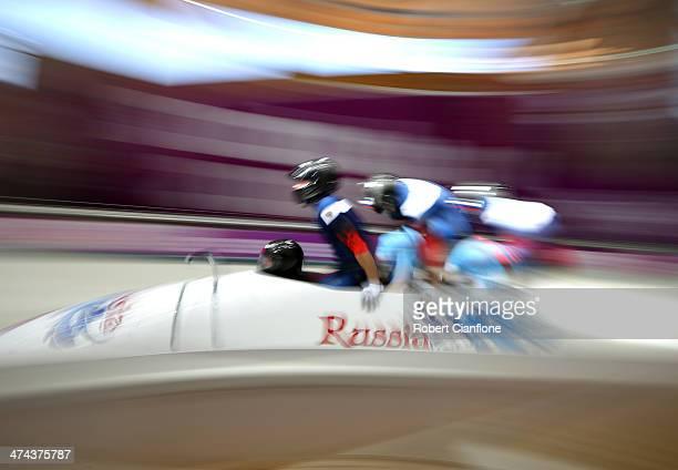 Alexander Zubkov Alexey Negodaylo Dmitry Trunenkov and Alexey Voevoda of Russia team 1 make a final run during the Men's Four Man Bobsleigh on day 16...