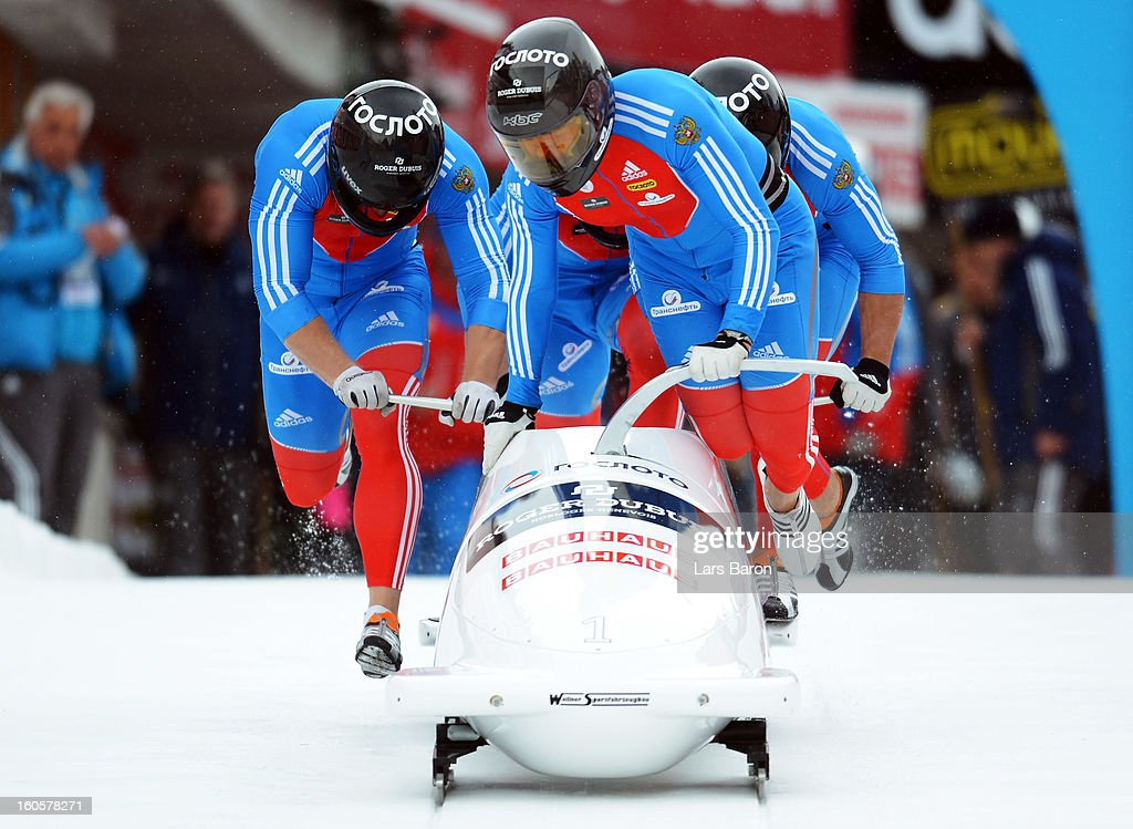 Alexander Zubkov, Alexey Negodaylo, Dmitry Trunenkov and Maxim Mokrousov of Russia compete during the Four Men Bobsleigh heat three of the IBSF Bob & Skeleton World Championship at Olympia Bob Run on February 3, 2013 in St Moritz, Switzerland.