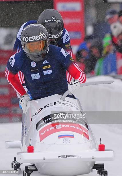 Alexander Zubkov and Dimitry Trunenkov of Russia start their 2 Man Bobsled run during the Viessmann IBSF Bobsled and Skeleton World Cup event at Utah...