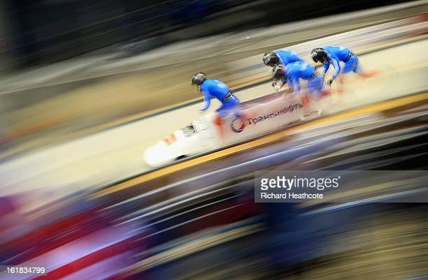 Alexander Zubkov of Russia launches his sled down the track during the 4 man Bobsleigh Viessman FIBT Bob Skeleton World Cup at the Sanki Sliding...