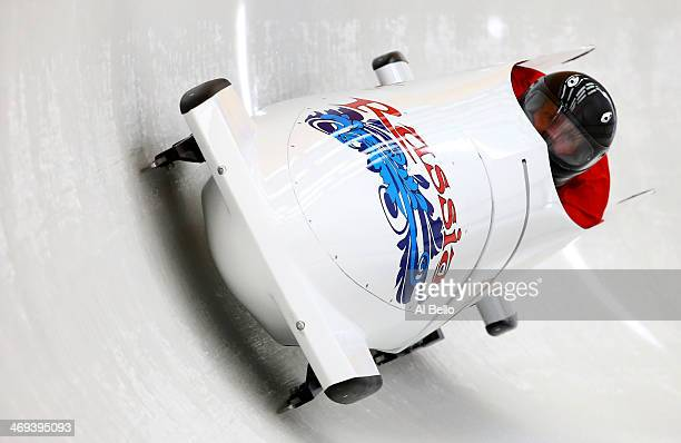 Alexander Zubkov of Russia pilots a run during a Men's TwoMan Bobsleigh training session on day 7 of the Sochi 2014 Winter Olympics at the Sanki...