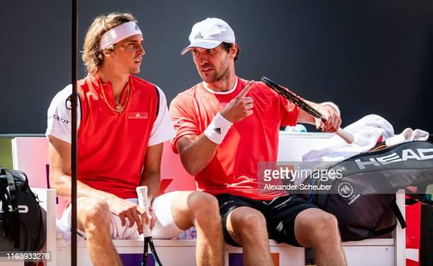 Alexander Zverev and Mischa Zverev are seen during the Hamburg Open 2019 at Rothenbaum on July 24, 2019 in Hamburg, Germany.