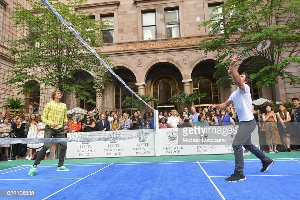 Alexander Zverev and Mischa Zverev attend 2018 Lotte New York Palace Invitational on August 23 2018 in New York City