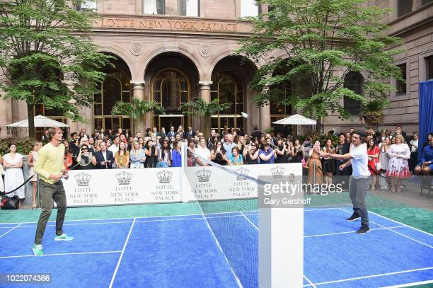 Alexander Zverev and Mischa Zverev compete during the 2018 Palace Invitational Badminton Tournament at Lotte New York Palace on August 23 2018 in New...