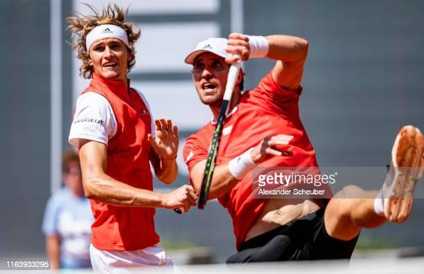 Alexander Zverev and Mischa Zverev perform during the Hamburg Open 2019 at Rothenbaum on July 24, 2019 in Hamburg, Germany.