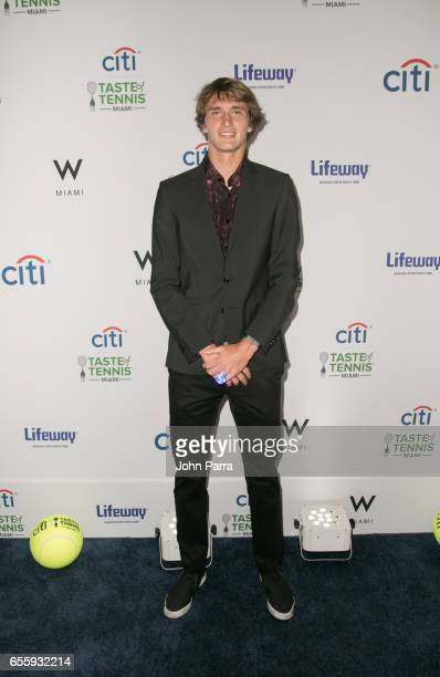 Alexander Zverev arrives at the Citi Taste Of Tennis Miami at W Hotel on March 20 2017 in Miami Florida