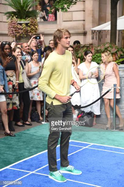 Alexander Zverev competes during the 2018 Palace Invitational Badminton Tournament at Lotte New York Palace on August 23 2018 in New York City