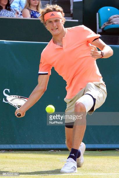 Alexander Zverev during his match against Pablo Carreno Busta day three Pablo Carreno Busta of The Boodles Tennis Event at Stoke Park on June 28 2018...