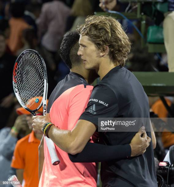 Alexander Zverev from Germany and Nick Kyrgios from Australia during their hand shake after the match for the fourth round of the Miami Open Zverev...