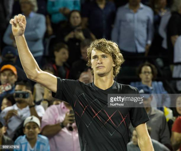 Alexander Zverev from Germany celebrating his victory against Nick Kyrgios from Australia Zverev advances to the quaterfinals of the Miami Open in...
