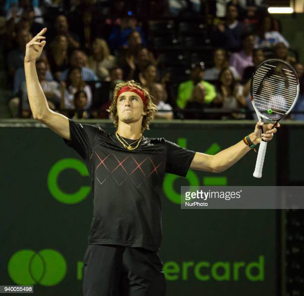 Alexander Zverev from Germany celebrtes a crucial point against Borna Coric from Croatia during his quarter final match at the Miami Open Zverev...