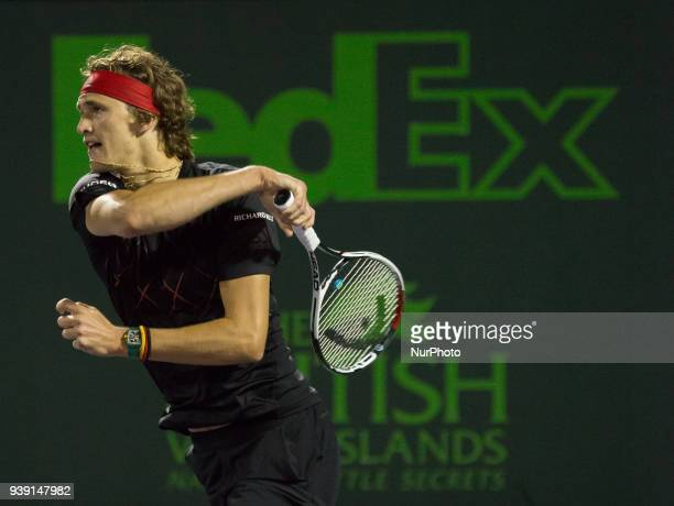 Alexander Zverev from Germany in action against Nick Kyrgios from Australia during his fourth round match at Miami Open in Key Biscayne on March 27...