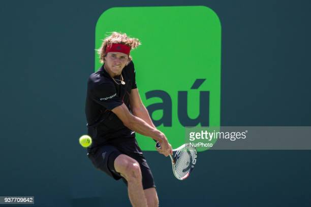 Alexander Zverev from Germany in action during his second round match against Daniil Medvedev from Russia at the Miami Open Zverev defeated Medvedev...