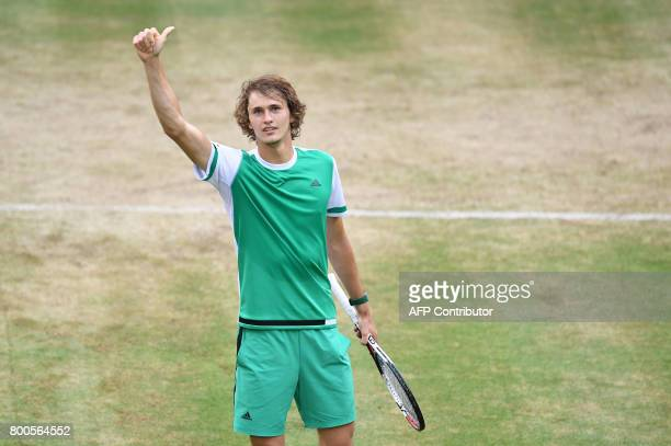 Alexander Zverev from Germany reacts after winning his match against Richard Gasquet from France during the ATP tournament tennis match in Halle...