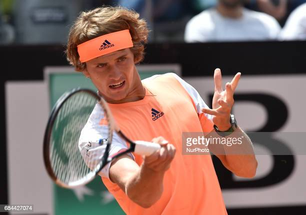 Alexander Zverev in action during his match against Fabio Fognini Internazionali BNL d'Italia 2017 on May 16 2017 in Rome Italy
