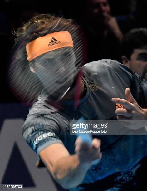 Alexander Zverev in action during his match against Stefanos Tsitsipas during Day Four of the Nitto ATP Finals at The O2 Arena on November 13 2019 in...