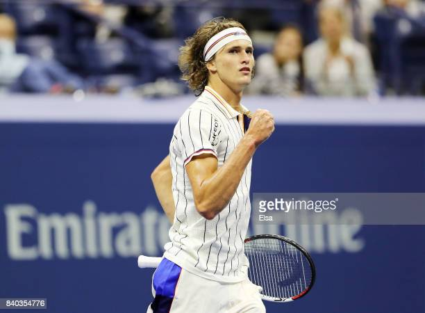 Alexander Zverev Jr of Germany reacts against Darian King of Barbados during their first round Men's Singles match on Day One of the 2017 US Open at...