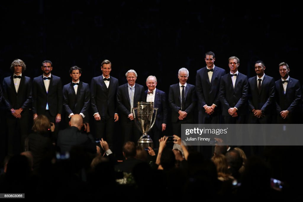 Alexander Zverev, Marin Cilic, Dominic Thiem, Bjorn Borg, Captain of Team Europe, Rod laver, John Mcenroe, Captain of Team World, John Isner, Sam Querrey, Nick Kyrgios and Jack Sock at the Laver Cup Gala dinner ahead of the Laver Cup on September 21, 2017 in Prague, Czech Republic. The Laver Cup consists of six European players competing against their counterparts from the rest of the World. Europe will be captained by Bjorn Borg and John McEnroe will captain the Rest of the World team. The event runs from 22-24 September.