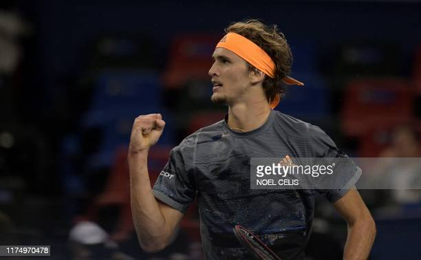 Alexander Zverev of Gemrnay reacts after winning a point against Andrew Rublev of Russia during their men's singles third round match against at the...