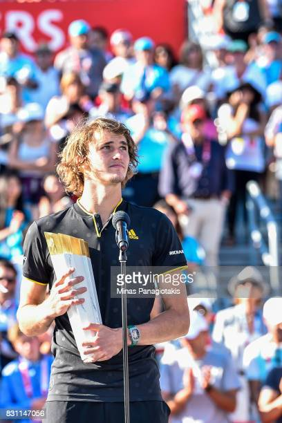 Alexander Zverev of Germany addresses the fans after defeating Roger Federer of Switzerland 63 64 in the final during day ten of the Rogers Cup...