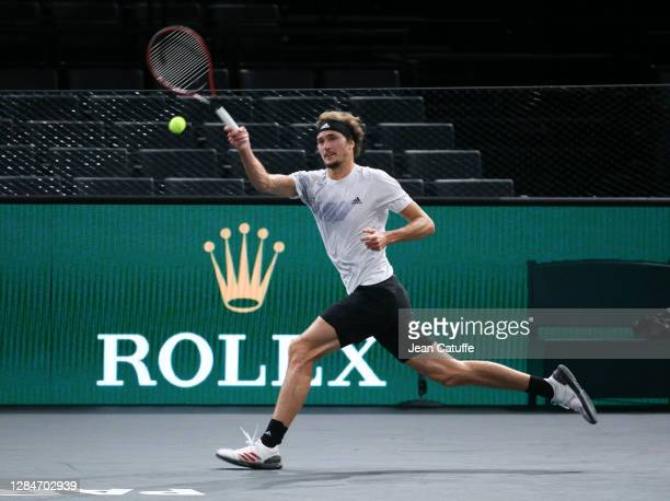 Alexander Zverev of Germany against Daniil Medvedev of Russia during the men's final on day 7 of the Rolex Paris Masters, an ATP Masters 1000...