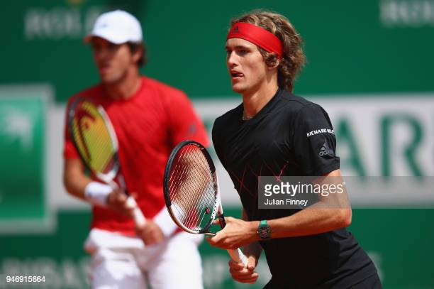 Alexander Zverev of Germany and Mischa Zverev of Germany in action in their doubles match against Andres Molteni of Argentina and Diego Schwartzman...