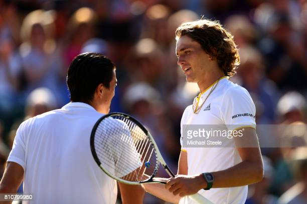 Alexander Zverev of Germany and Sebastian Ofner of Austria shake hands after their Gentlemen's Singles third round match on day six of the Wimbledon...