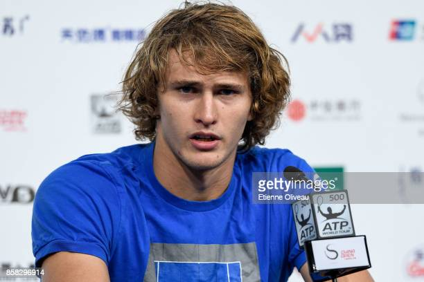Alexander Zverev of Germany attends a press conference after his victory against Andrey Rublev of Russia during the Men's Single Quarterfinals on day...