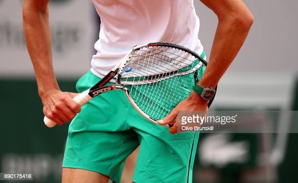 Alexander Zverev of Germany breaks his racket during the first round match against Fernando Verdasco of spain on day three of the 2017 French Open at...