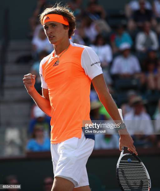 Alexander Zverev of Germany celebrates a point against Nick Kyrgios of Australia in their third round match during day nine of the BNP Paribas Open...