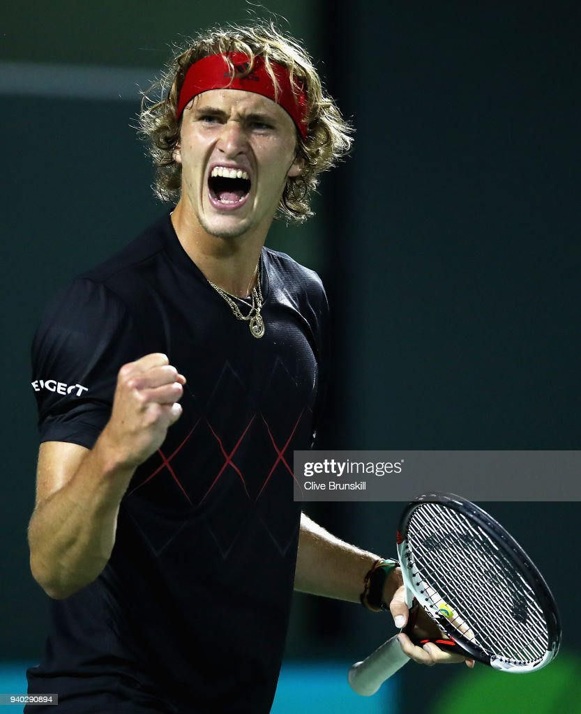 Alexander Zverev of Germany celebrates a point against Pablo Carreno Busta of Spain in their semifinal match during the Miami Open Presented by Itau at Crandon Park Tennis Center on March 30, 2018 in Key Biscayne, Florida.
