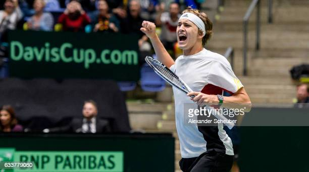 Alexander Zverev of Germany celebrates a point during day two of the Davis Cup World Group first round between Germany and Belgium at Fraport Arena...