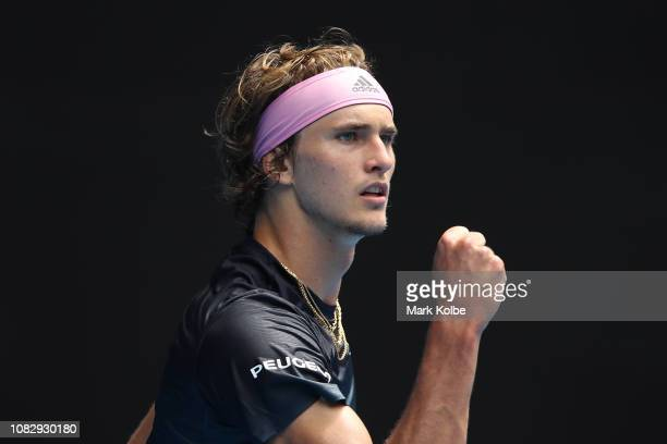 Alexander Zverev of Germany celebrates a point in his first round match against Aljaz Bedene of Slovenia during day two of the 2019 Australian Open...