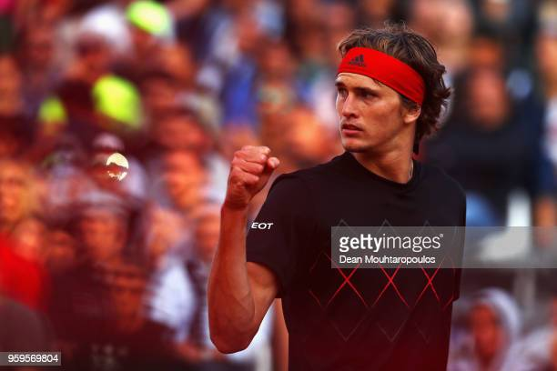 Alexander Zverev of Germany celebrates a point in his match against Kyle Edmund of Great Britain during day 5 of the Internazionali BNL d'Italia 2018...