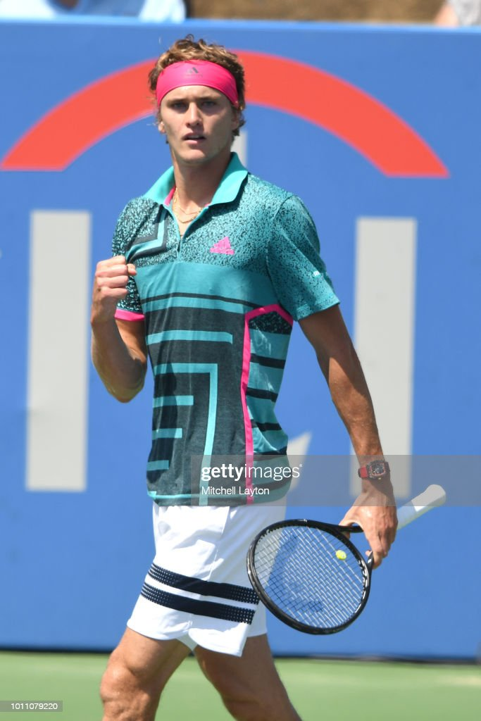 Alexander Zverev of Germany celebrates a shot against Stefanos Tsitsipas of Greece during a semifinal match on Day Eight of the Citi Open at the Rock Creek Tennis Center on August 4, 2018 in Washington, DC.