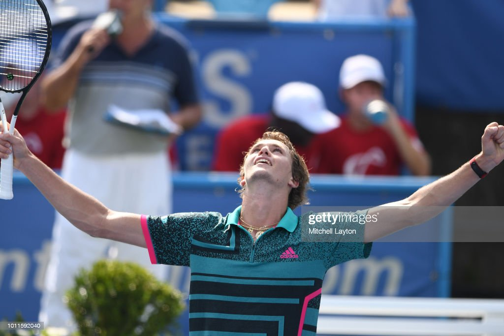 Alexander Zverev of Germany celebrates a win against Alex De Minaur of Australia during the Men's Finals on Day Nine of the Citi Open at the Rock Creek Tennis Center on August 5, 2018 in Washington, DC.