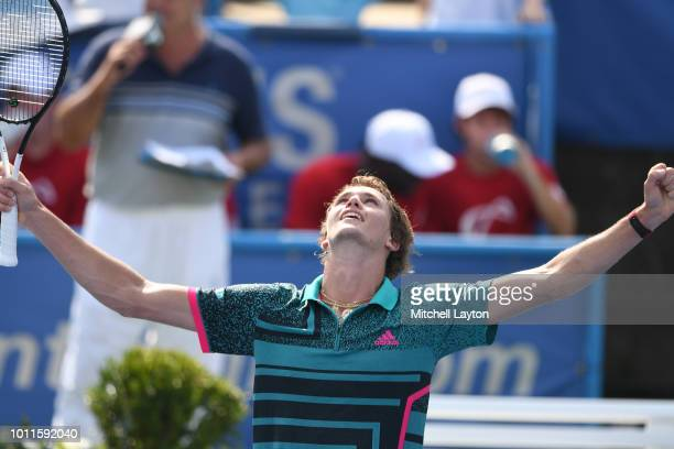 Alexander Zverev of Germany celebrates a win against Alex De Minaur of Australia during the Men's Finals on Day Nine of the Citi Open at the Rock...