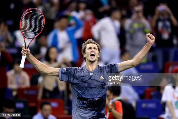 Alexander Zverev of Germany celebrates after defeating against Roger Federer of Switzerland during the Men's singles Quarterfinals match of 2019...